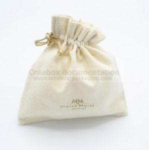 Créabox pochon fermé en coton gratté pour bijoux -10x10 cm