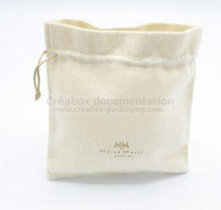 pochon ouvert en coton gratté pour bijoux -10x10 cm